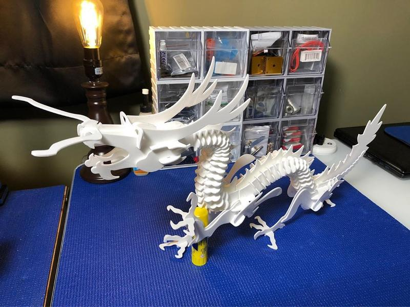 a huge Dragon 3D puzzle. All the parts fit together nicely ensuring a good final result.