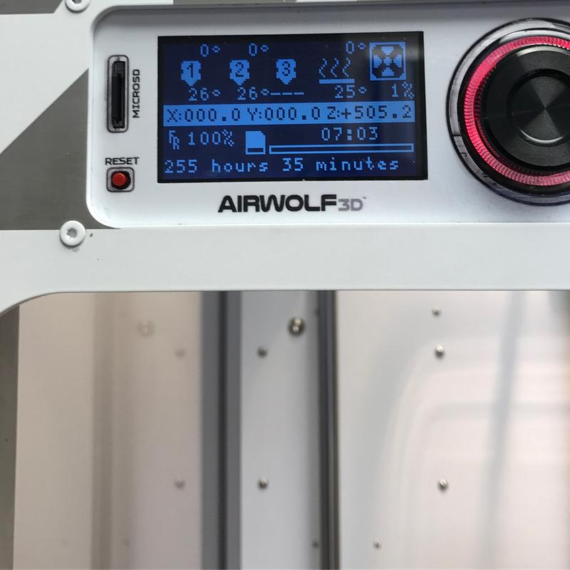 the built-in LCD interface with a rotating knob of Airwolf3D AXIOM 20 Large Format 3D Printer