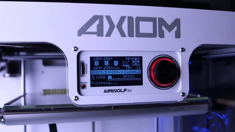 the built-in LCD interface of the Airwolf3D AXIOM DUAL Extruder 3D Printer