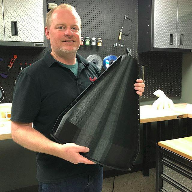 This large print is part of a cement hopper. It has been created using MG94 premium ABS filament. It is precise and flawless. No warps or strings are visible.