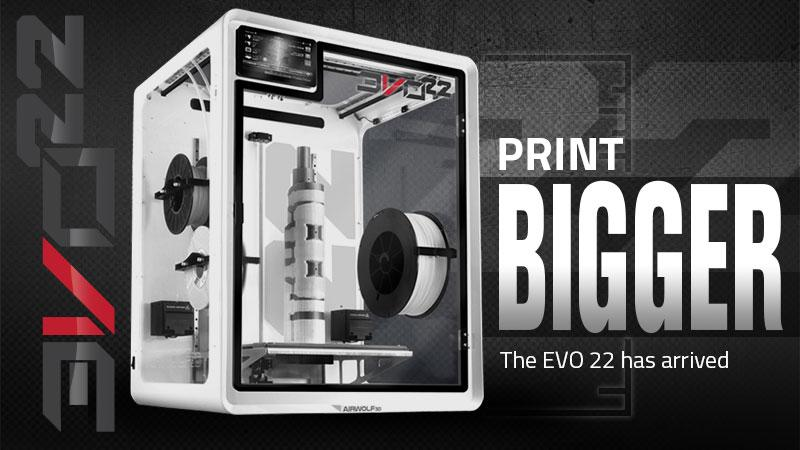 EVO 22 Large 3D Printer/Additive Manufacturing Center is available in white with black trims