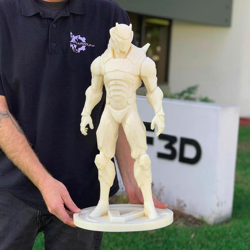 The Omega Skin pictured took more than 100 hours of printing on the evo 22 3d printer