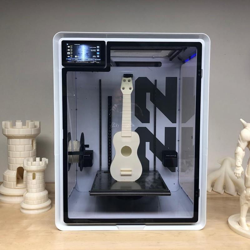 EVO 22 Large 3D Printer/Additive Manufacturing Center with printed guitar
