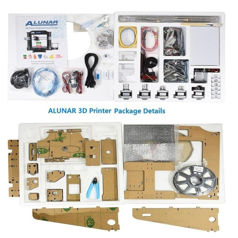 what's in the box Alunar M508 DIY 3D Printer