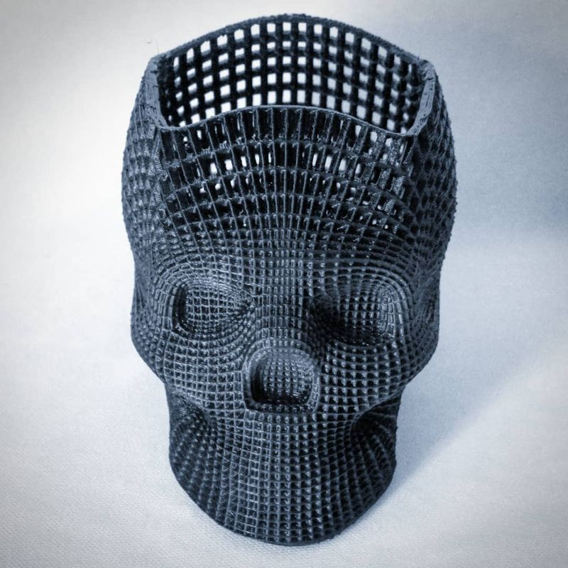 For example, one maker used Anet A6 to print a wireframe skull pencil holder.