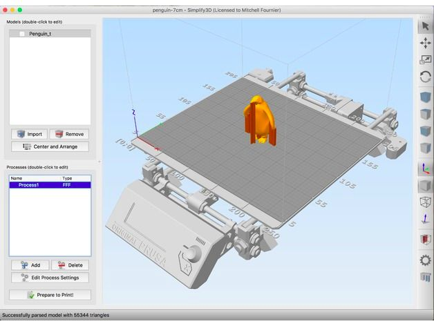 The printer software works with 3D models in .STL and .OBJ formats, and is available for Mac OS and Windows. Linux users will have to use a virtual machine or other software.