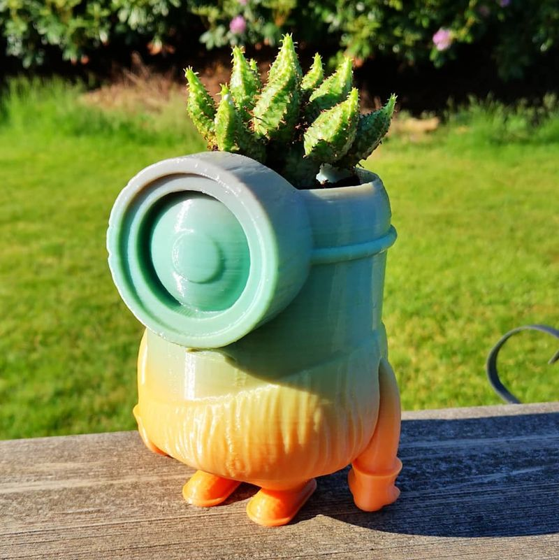 Here's a Minion stone age planter printed with rainbow PLA