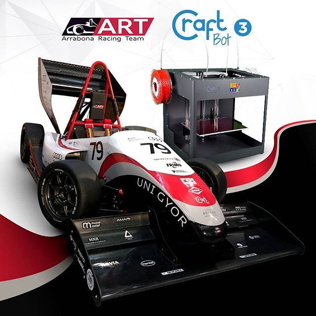 The Craftbot 3 is a professional FDM 3D printer used by teams like the Arrabona Racing Team