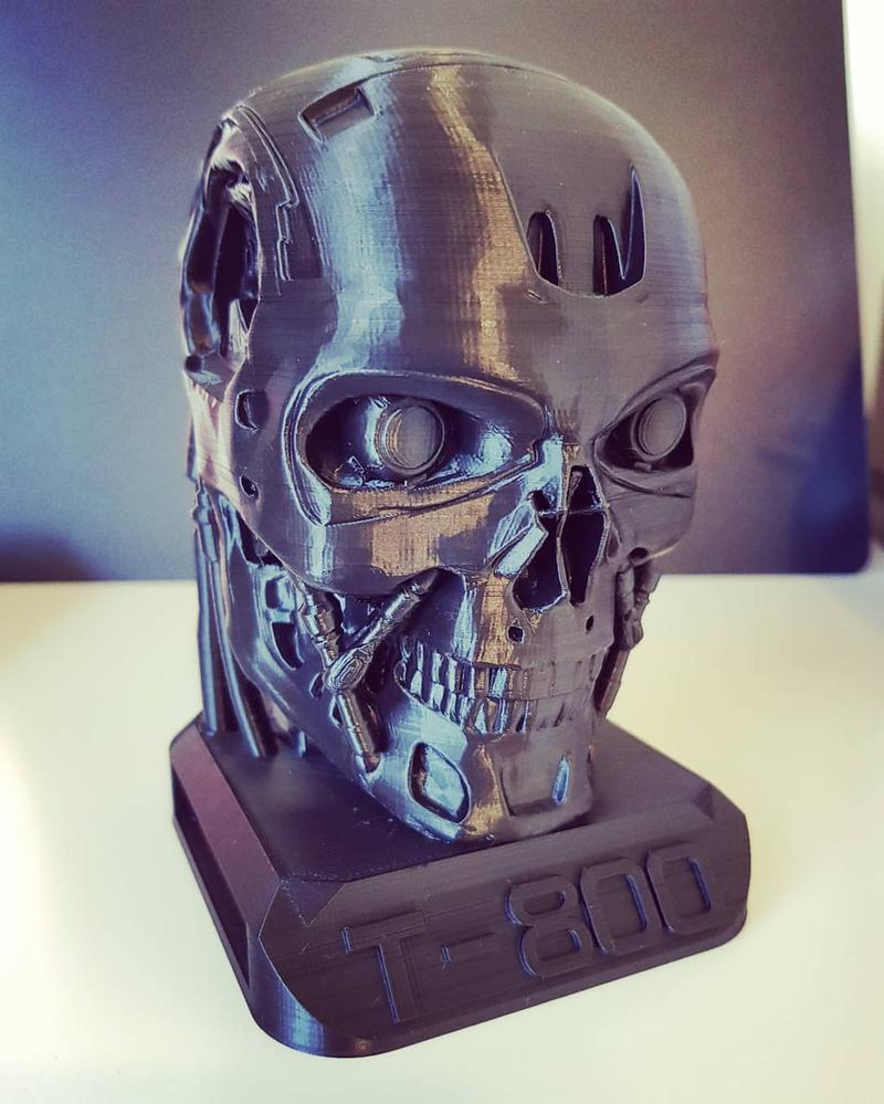 This huge Terminator T-800 head took 32 hours to print, but it paid off. It reflects the overall quality and the level of detail of this great printer.