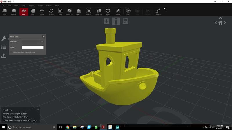 The printer works with 3D models in STL, OBJ and G-Code formats