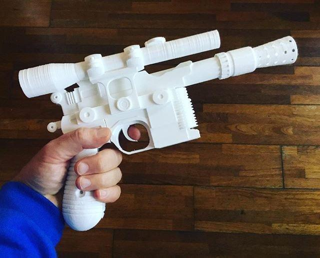One user used the Creality CR-10 S4 to print the Han Solo's blaster from the Star Wars movie. Some sanding and painting and you could have a realistic replica.