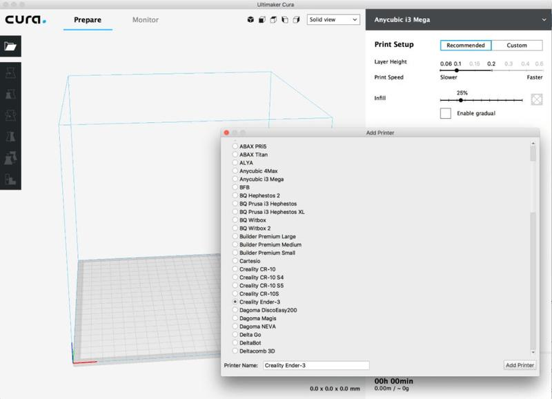 The printer works with the Cura software. It is available for Windows, Linux and Mac users.