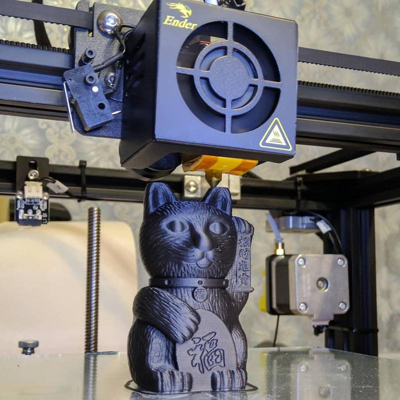chineese cat printed on the creality ender 4