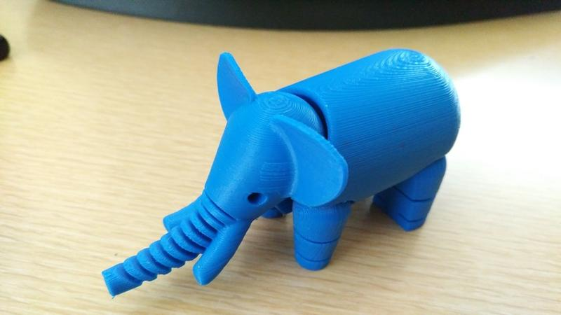 This elephant has been printed with blue PLA at 0.2mm layer height. It took 1 hour and 20 minutes of printing