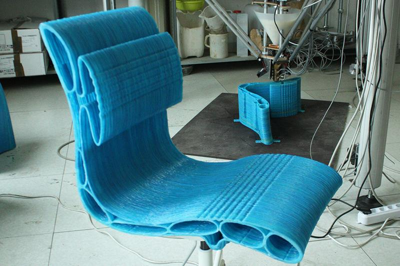 the printing of the chair in the delta wasp 3mt
