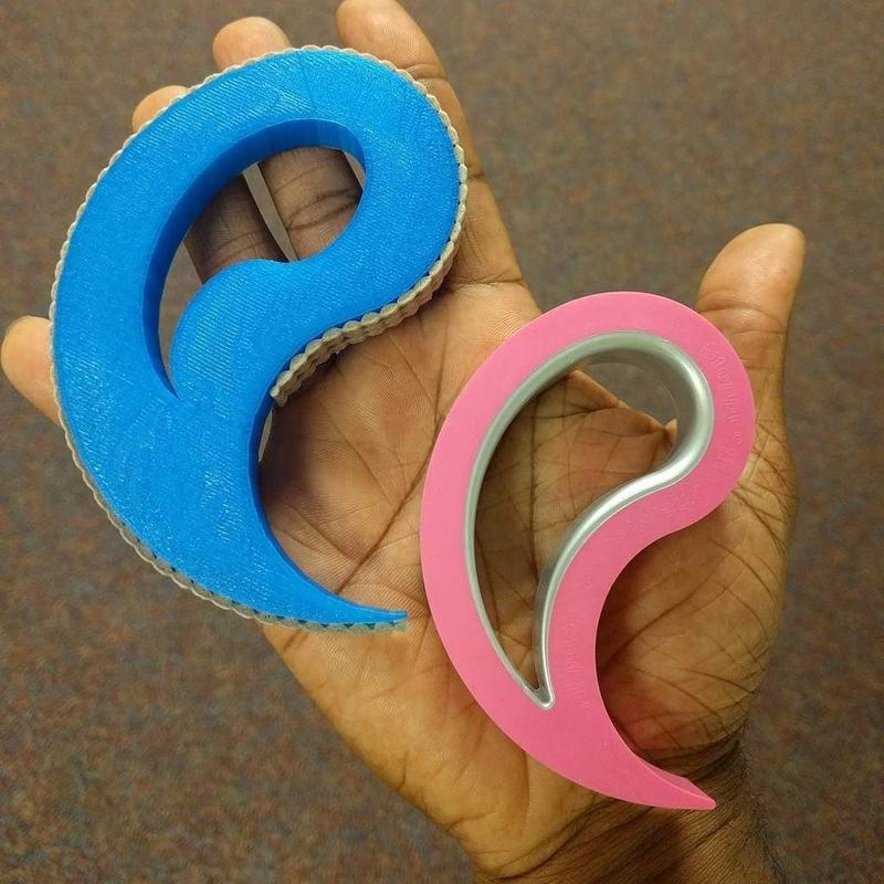 One user decided to 3D print a replica of a common door-stop. The blue model shows the result. It has a decent print quality and clean edges.