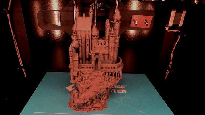 The build area is 5.9 x 5.9 x 5.9 inches (150 x 150 x 150 mm). Larger models can be printed in parts