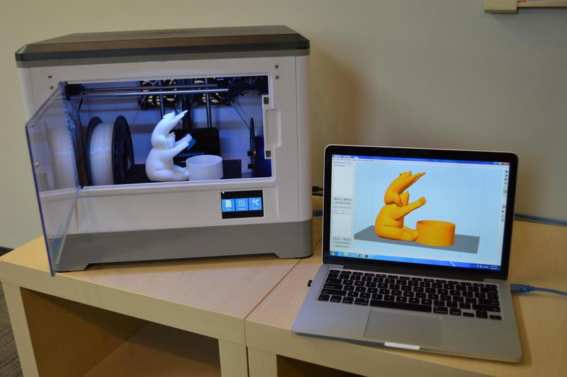 3D models can be printed from a computer via WiFi, Micro SD or USB.