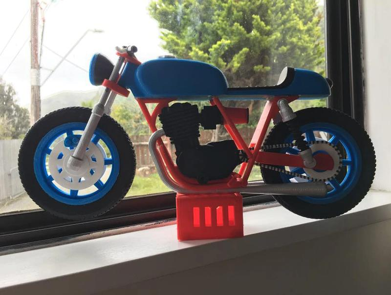 the model of motocycle printed on the FLSUN 3D Metal Frame Kossel Delta DIY KIT