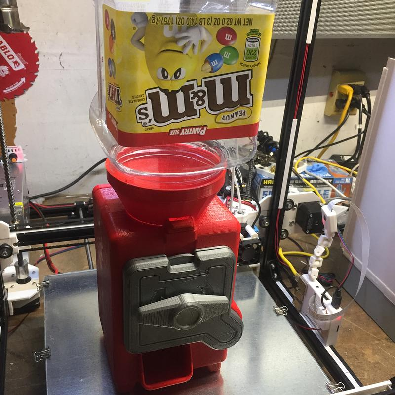 For example, one user 3D printed a bespoke dispensing machine tailored to an M&M's jar. This candy dispenser has been made with red and silver PLA