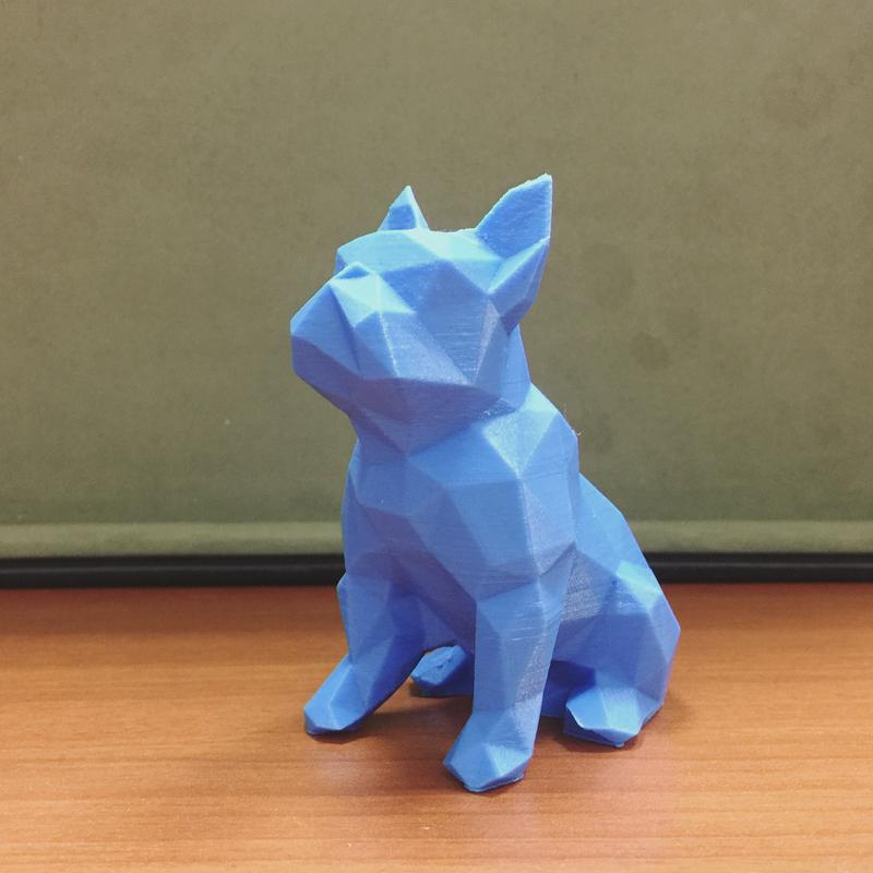 This low poly bulldog has a decent print quality and accurate edges.