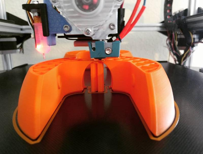 Folger Tech FT-5 R2 Large Scale 3D Printer Kit prints with ABS, PLA and other materials.