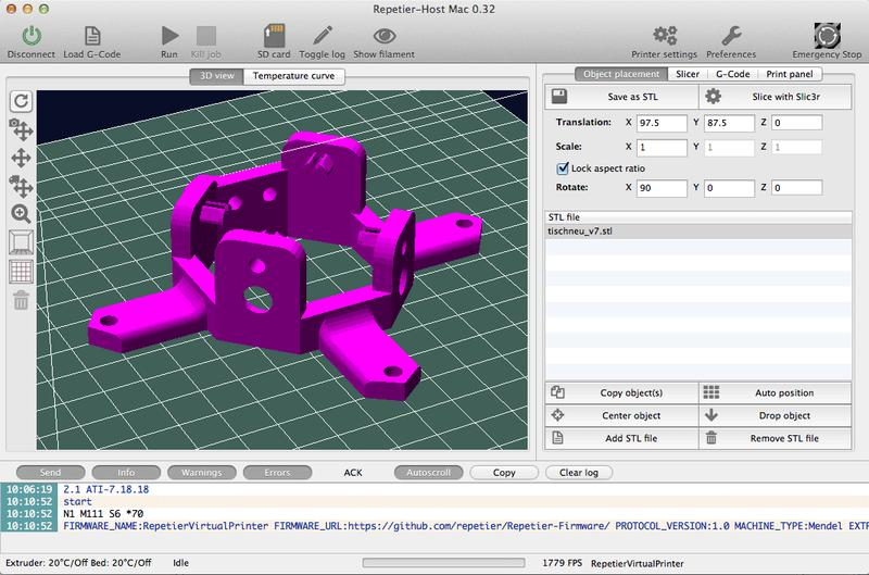 The printer works with the most popular 3D slicing software like Cura, Slic3r, Repetier-Host, and more.