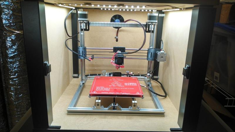 the enclosed print chamber.on the folger tech rep rap 2020 3d printer