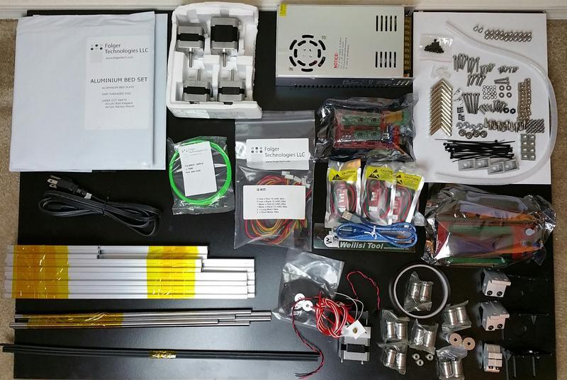 what's in the Folger Tech RepRap 2020 Prusa i3 Full Aluminum 3D Printer Kit box