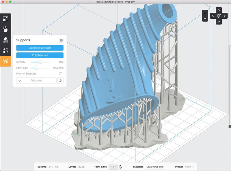 The printer software, PreForm, has been developed in-house to deliver a smooth printing experience to any user. It works with STL, OBJ, and FORM models.