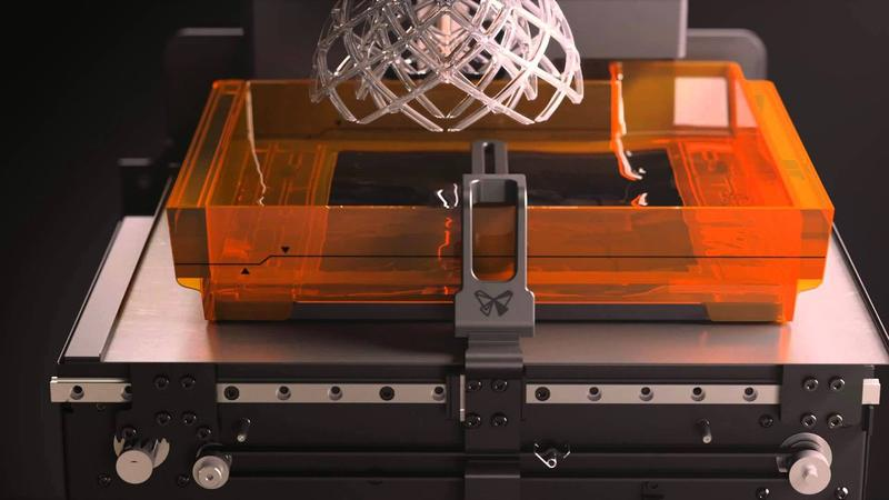 The Formlabs Form 2 3D printer works with photopolymer liquid resin.