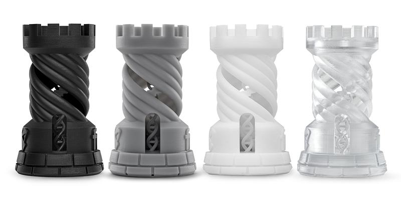 The material lineup includes standard resins and functional ones.