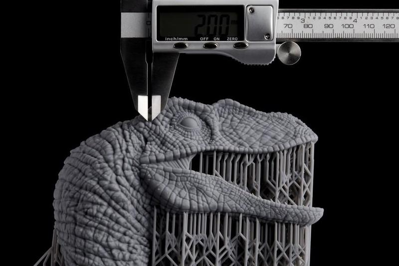 Velociraptor model. It has been printed with a layer thickness of 100 microns