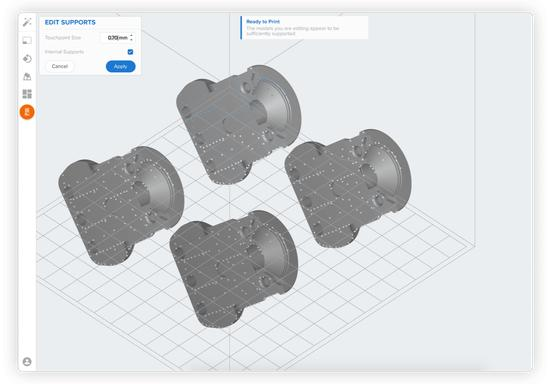 3D models can be printed from computer via Ethernet or wifi.