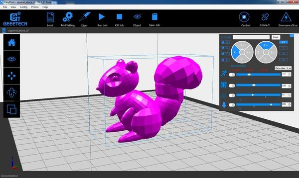 The printer operates with Easyprint 3D, the company proprietary software. It is free and simple to use. It is constantly upgraded to provide an optimal user experience. It is available for Windows, Linux, Mac OS, iOS and Android.