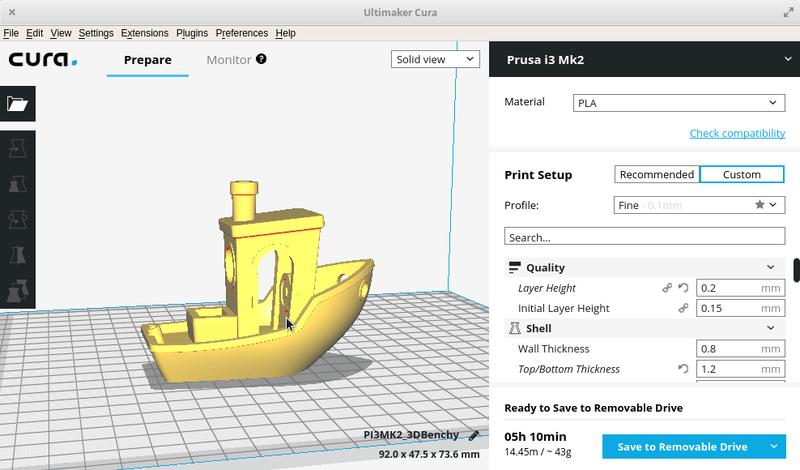 The printer supports Cura, Repetier-Host, and Simplify 3D software