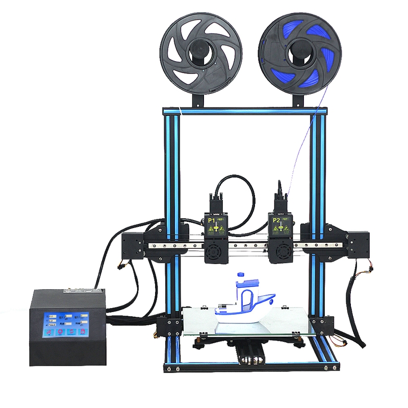 The HICTOP D3 Pro Independent Dual Extruder 3D Printer prints with 1.75 mm filament. It adopts an open-material system, providing you with a wide choice of materials.