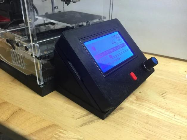 The printer only works plugged to a computer. Adding an external LCD display controller might be the right choice to operate the printer more comfortably.