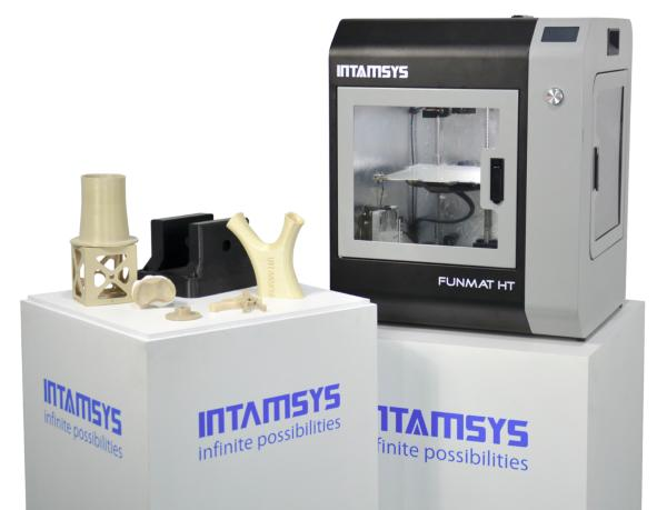 Intamsys Funmat HT 3D printer with printed models