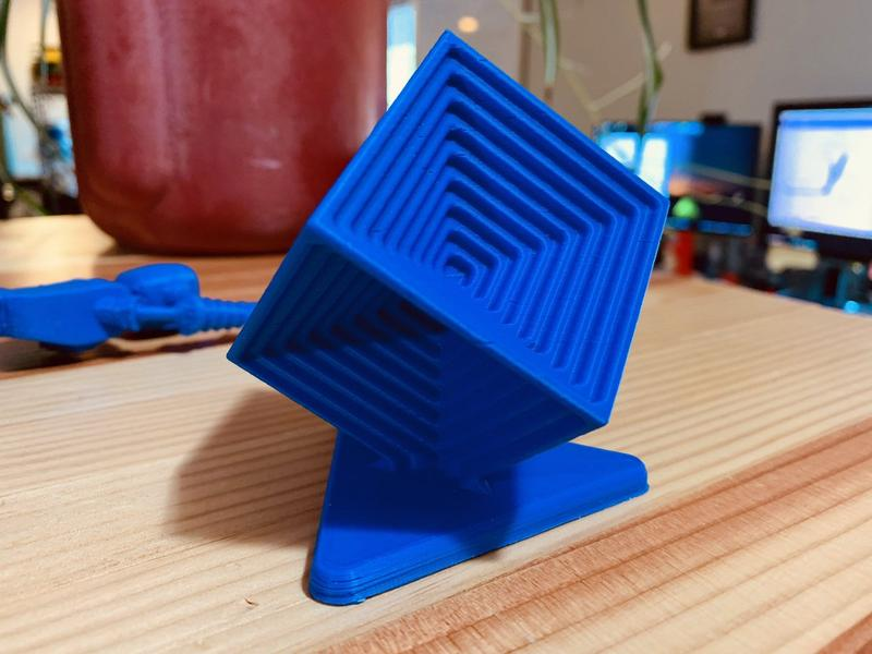 the blue model printed on the Intamsys Funmat Pro 3D printer