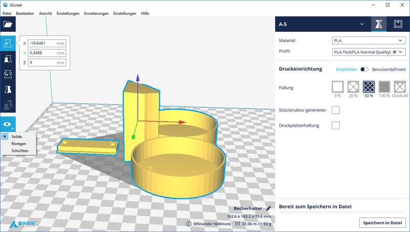The printer comes with a slicing software stored in the provided SD card, JGCreat. It is a multi-lingual, rebadged version of Cura and runs on Windows, Linux, and Mac OS. It works with 3D models in STL and G-Code.