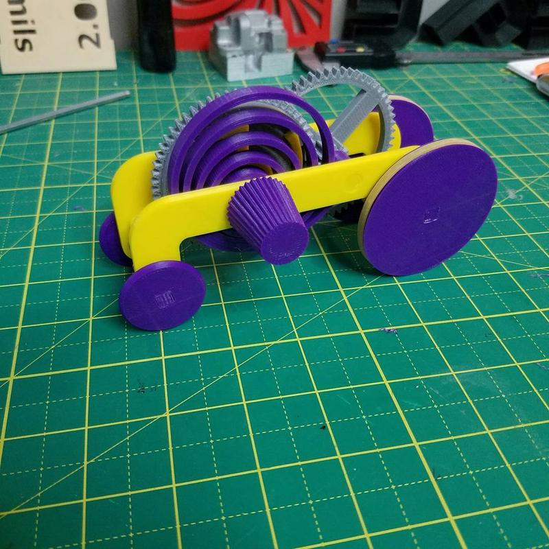 The build area of 8 x 8 x 10 inches (203 x 203 x 254 mm) lets you print just about anything, even a multi-colored, gear toy race car composed of accurate, tiny parts.