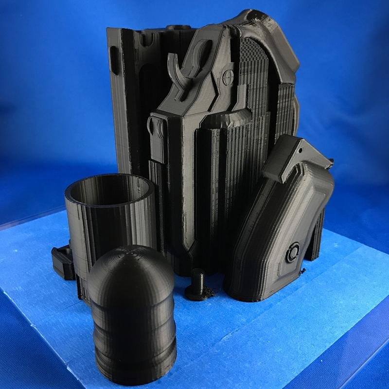 This multi-part print took 30 hours altogether. Each component shows high dimensional accuracy and smooth edges