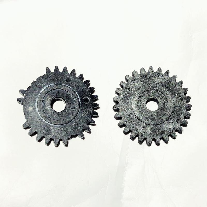 These gear teeth are about the size of a pound coin.