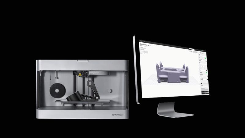 Markforged Onyx Two 3D printer with a notebook
