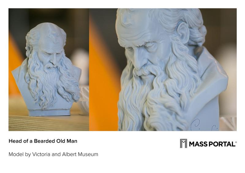 The head of a bearded old man printed on the Mass Portal D600 3D printer