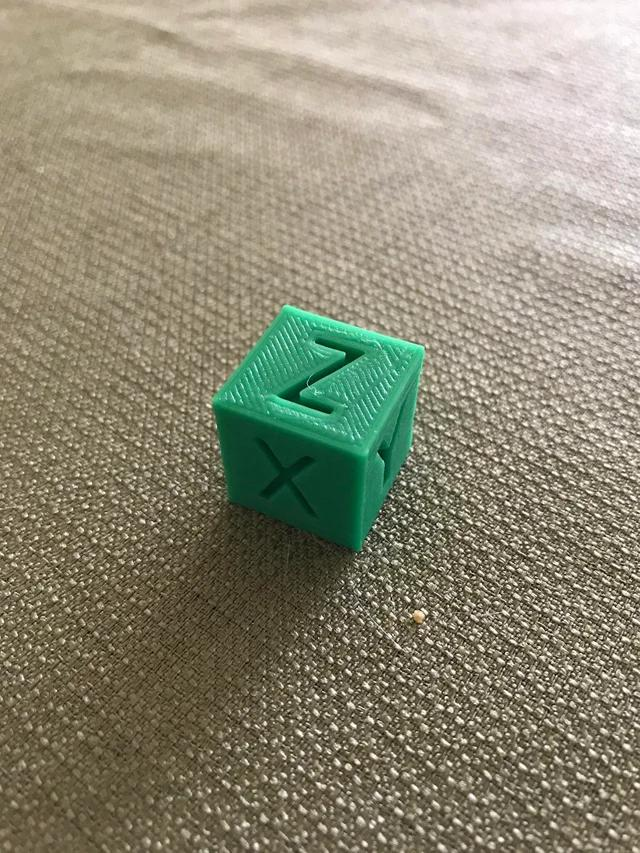 As a first, complete test print with stock settings, this cube seems quite good and sharp.