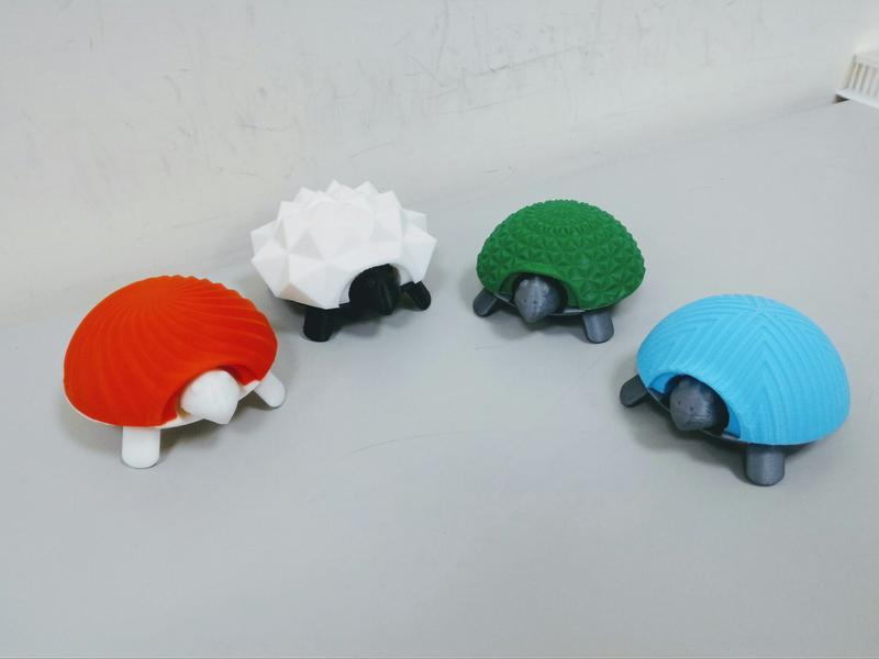 Look at these little turtles. Different in shapes and colors, they reflect the accurate results achievable by the printer. Cute and well-defined.
