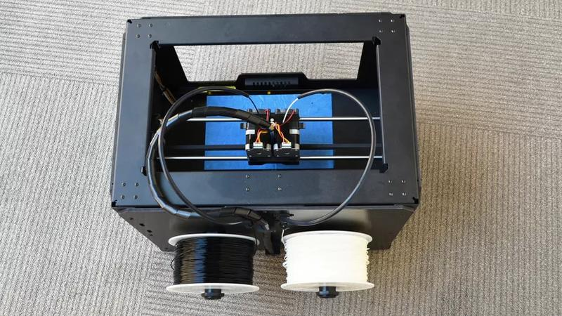 The Monoprice Dual Extrusion 3D printer prints with a generic 1.75 mm filament