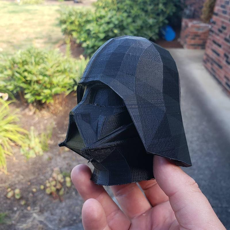 This Darth Vader model has been printed with black PLA